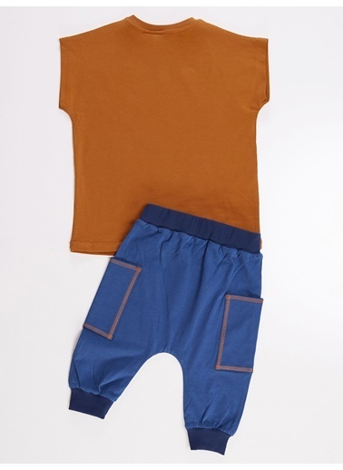 Denokids Komik Dinozor Erkek Tshirt-Kapri Pantolon Takım Renkli